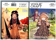 "VOGUE 8336 & 9371 PATTERNS Doll Clothes Native American 18"" American Girl"