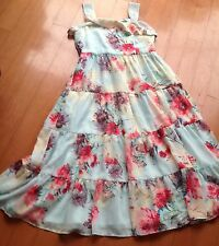 Girls formal/party/maxi dress. Age 12/13. Monsoon, Pink & Green floral. Wedding
