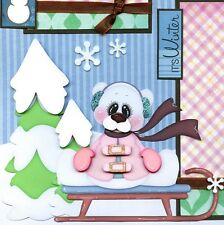 SLEDDING girl SNOW winter 2 premade scrapbook pages paper piecing LAYOUT CHERRY
