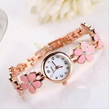 Womens Girl Charismatic Fashion Daisies Flower Rose Golden Bracelet Wrist Watch