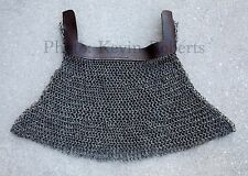 Chain Mail  Dome Riveted Aventail + Leather Band Medieval Armor HEMA SCA Armour