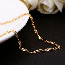 "Stunning Delicate Gold Plated Waves Chain Necklace 18""+ 2"" extender chain (023)"