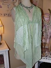 PRETTY ANGEL Boho VINTAGE CHIC SPRING GREEN CROCHET LACE Layered TOP VEST L