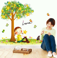 Colorful Cute Girl Twinkle Stars Tree Mural Wall Stickers Childs Room Decoration