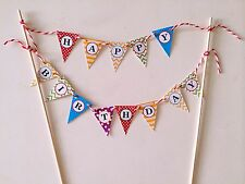 "Rainbow ""Happy Birthday"" Cake Topper Flag Garland Banner/Bunting"