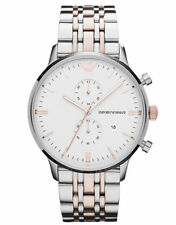 Emporio Armani AR0399 Gold Rose Gold Chrono Stainless Steel Watch Nuevo