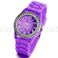 Fashion Rhinestone Jelly Gel Silicone Women Lady Girls Casual Quartz Wrist Watch