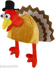 FUNNY NOVELTY FUN TURKEY BIRD THANKSGIVING CHRISTMAS XMAS PARTY HAT WITH LEGS BN