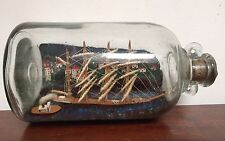 Antique Tall Ship In Bottle Scenic Town Lighthouse Houses Genuine Old Model TAU
