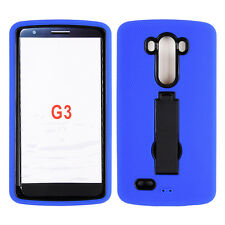 For LG G3 Rugged Hybrid Impact Rubber Hard Kickstand Case Cover