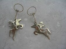 "Vintage  A.H.D. MEXICO Sterling Silver ""COWBOY & HORSE"" Long Post Earrings NICE"