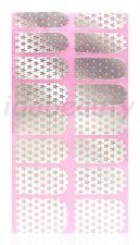 NAIL ART STICKER  DECAL DESIGN FOR NAILS 16 WRAPS SILVER CHROME STAR