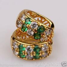 Womens 18k Yellow Gold Filled Green White Crystal Hoop Fashion Earrings Jewelry