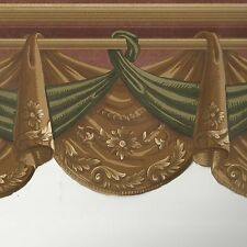 Victorian Swag Draping on Gold Background - Wallpaper Border A308