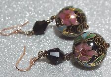 VINTAGE Deco Style Cloisonne Glass Bead Drop Earrings Rose Gold 925 Silver 6cm