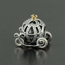 Authentic Pandora 14K Gold Disney Cinderella Pumpkin Coach Bead 791573CZ w Pouch