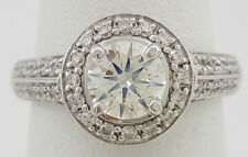 1.28 ct 14K White Gold Round Cut Diamond Halo Engagement Ring EGL Rtl $7,200