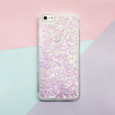 Bling Heart Glitter Liquid Soft Side Hard Back Case Cover For iPhone 5 6S 7 Plus