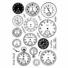 Crafty Individuals TICK TOCK CLOCK FACES Multi-elements umounted red rubber stam