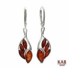 COGNAC BALTIC AMBER STERLING SILVER 925 JEWELLERY DANGLE EARRINGS. KAB-238