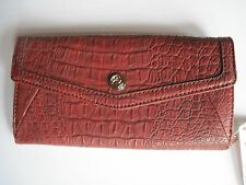 Relic by Fossil Clutch Checkbook Wallet Organizer Reddish Brown Croc FREE S&H
