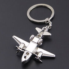 1Pcs Collectable  Silver Creative Airplane Alloy Silve Keychain Key Ring Pendant