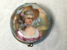 Antique Small Germany handpainted porcelain patch box dresser jar