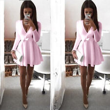 Womens Long Sleeve Plunge V Neck Flared Dress Evening Party Mini Skater Dress