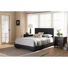 Atlas Modern and Contemporary Black Faux Leather Full Size Platform Bed NEW