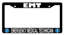 Black License Plate Frame EMT Emergency Medical Technician (Logo) Auto