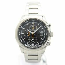 Citizen Eco Drive CA0130-58E Men Stainless Steel Chronograph Date Analog Watch