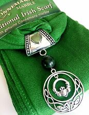 Irish Scarf with Claddagh Scarf Charm, Direct from Ireland!