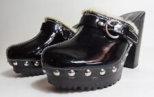 $280 MIU MIU By Prada patent Leather Studded Heel Wooden Platform Clog Sz 6  36