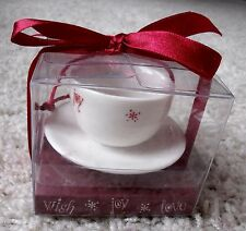 NIP Starbucks Wish Joy Love 2005 Cappuccino Cup & Saucer Christmas Ornament