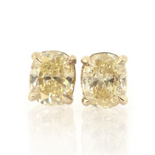 11.83ct Oval Diamond Stud Earrings Fancy Light Yellow/SI2 GIA Certified