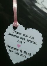 10x Personalised Thank you Tags  + Pink ribbon Wedding favour, gift, bottle