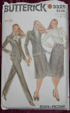 Vntg NEW Butterick Sew Pattern 3325-Fem Pwr Suit Sz 10-Jacket-Blouse-Skirt-Pnts