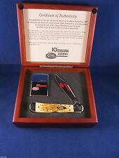 Case / Zippo 10th Anniversary Copperlock Knife & Zippo Lighter Set Mint In Box