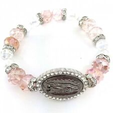 Virgin Mary Rosary rhinestone beads White & Pink Crystalys Handmade Bracelet