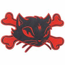 "5"" Red Cat Kitty Skull Crossbones Skeleton Lady Rider Biker Iron on Patch #1420"