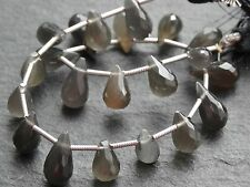 HAND FACETED GREY MOONSTONE BRIOLETTES, 7x10mm but variable, 20 beads