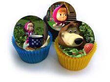 24 Muffin / Cupcake Masha et Michka Gateau Disque Azyme Comestible