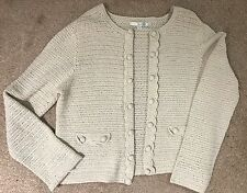 Ladies Womens Beige Boden Cotton Long Sleeve Cardigan Top Size 16 B1 Heavy Knit