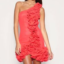 ASOS Black - Premium Coral Salmon Red Ruffle One Shoulder Dress - Size 6 - £150