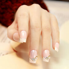24pcs Fake Nails Normal Length Patch Square Sculpt with Pearls faux