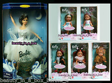 Swan Queen Barbie Doll Swan Lake Ballet Kelly Liana Skunk Carlita Ballerina 6""