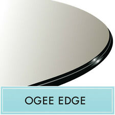 "24"" Contemporary Clear Round Tempered Glass Table Top 1/2"" thick - Ogee Edge"