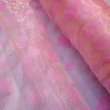 Pale Pink Organza with Pink Glitter Hearts Fabric *Per Metre
