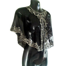 Fiona 1920's Great Gatsby Art Deco Beaded Bridal Capelet Embellished Shawl, S-XL