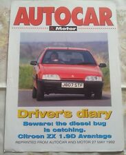 CITROEN ZX Avantage 1.9D Autocar Motor Reprint Double Sided Single Sheet May '92